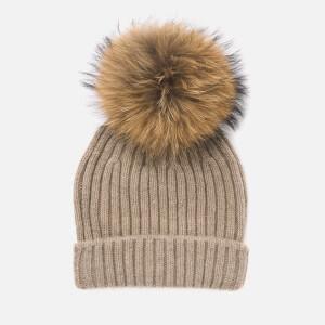 BKLYN Women's Cashmere Pom Pom Hat - Oatmeal/Natural