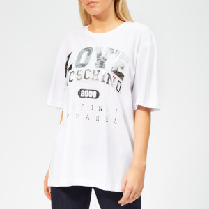 Love Moschino Women's Logo Embossed T-Shirt - Optical White