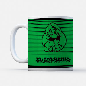 Nintendo Super Mario Luigi Retro Line Art Colour Mug