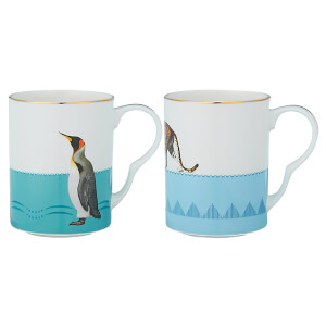 Yvonne Ellen Leopard and Penguin Mugs - Blue (Set of 2)