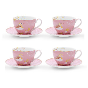 Pip Studio Cappuccino Cups and Saucers - Pink (Set of 4)
