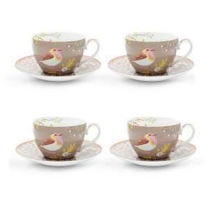 Pip Studio Cappuccino Cups and Saucers - Khaki (Set of 4)
