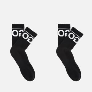 HUGO Men's 2 Pack Rib Logo Socks - Black - UK 8.5-11