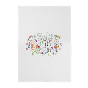 A Little Cloth Rabbit All Good Things Are Wild and Free Cotton Tea Towel