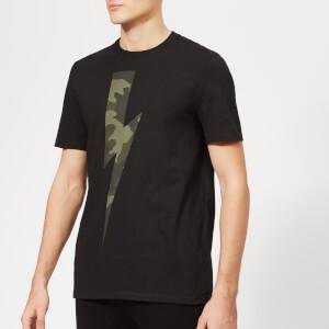 Neil Barrett Men's Camo Lightning Bolt T-Shirt - Black