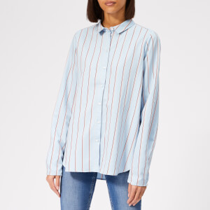 Gestuz Women's Chemise Shirt - Light Blue with Stripes