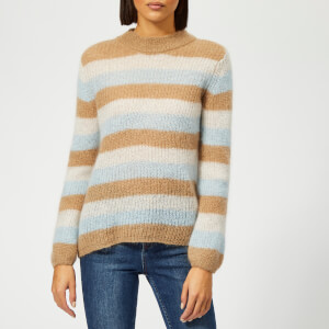 Gestuz Women's Holly Stripe Pullover Jumper - Tan Multi Stripe