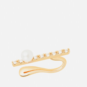 Astrid & Miyu Women's Thin Line Pearl Earcuff - Gold