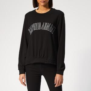 Emporio Armani Women's Logo Cropped Front Sweatshirt - Black