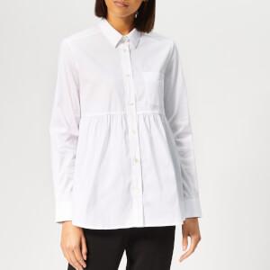 Emporio Armani Women's Poplin Peplum Style Shirt - White