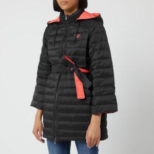 Emporio Armani Women's Wide Sleeve Puffa Jacket with Waist Belt - Black/Pink