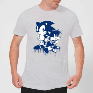 T-Shirt Homme Graffiti Sonic The Hedgehog - Gris
