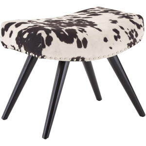 Fifty Five South Rodeo Footstool - Black/White Faux Cowhide