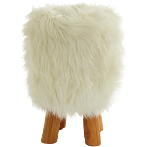 Fifty Five South Inca Round Stool - Faux White Fur
