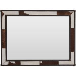 Fifty Five South Kensington Townhouse Wall Mirror - Brown/White Cowhide