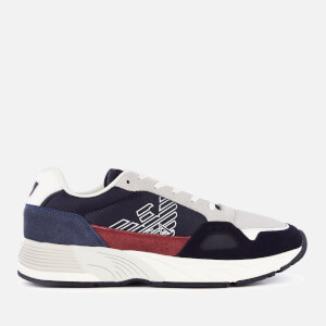 Emporio Armani Men's Zarks Mesh/Suede Runner Style Trainers - Navy/White/Light Grey