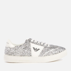 Emporio Armani Women's Biz Glitter Low Top Trainers - Silver/White