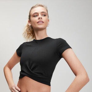 Power Short Sleeve Crop Top - Black