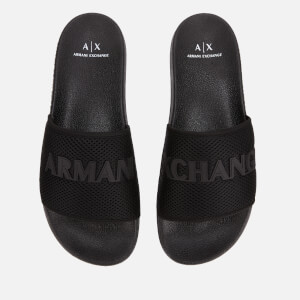 Armani Exchange Men's Mesh Slide Sandals - Black