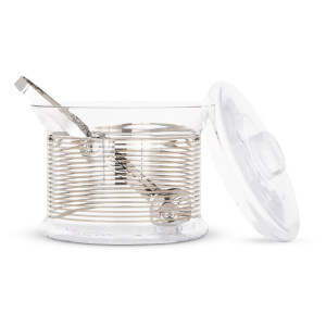 Tom Dixon Tank Ice Bucket with Tongs - Platinum Stripe