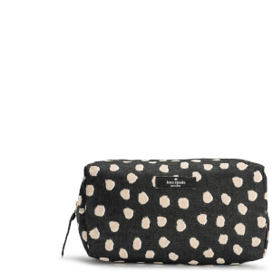 Kate Spade New York Women's Spot Print Cosmetic Bag - Black/White (Free Gift)