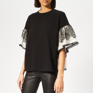 McQ Alexander McQueen Women's Gathered Sleeve Top - Black/Ivory