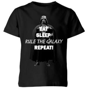 Star Wars Classic Eat Sleep Rule The Galaxy Repeat Kinder T-Shirt - Schwarz