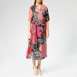 PS Paul Smith Women's Rainforest Floral Wrap Dress - Brick