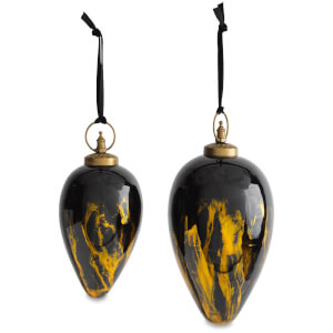 Nkuku Danoa Giant Drop Christmas Bauble - Aged Amber and Black - Small