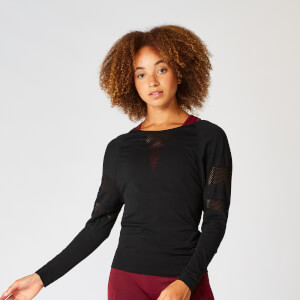 MP Shape Seamless Loose Fit Long Sleeve Top - Black