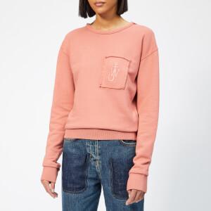 JW Anderson Women's Garment Dyed JWA Anchor Patch Sweatshirt - Dusty Rose