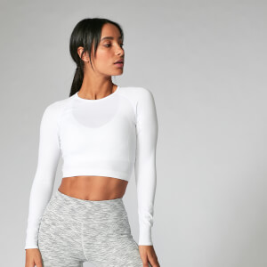 Myprotein Shape Seamless Long Sleeve Crop Top - White