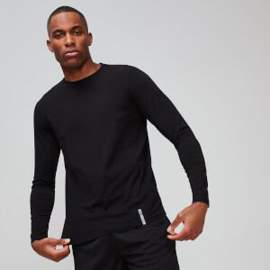 Luxe Classic Long-Sleeve Crew - Black