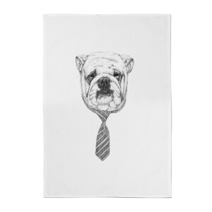 Balazs Solti Suited and Booted Bulldog Cotton Tea Towel