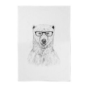 Balazs Solti Polar Bear and Glasses Cotton Tea Towel