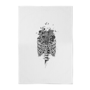 Balazs Solti Ribcage and Flowers Cotton Tea Towel