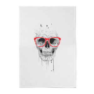 Balazs Solti Skull and Glasses Cotton Tea Towel