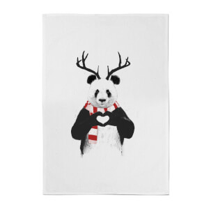 Balazs Solti Winter Panda Cotton Tea Towel