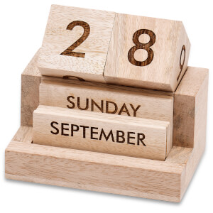 Nkuku Hansa Wooden Calendar - Mango Wood