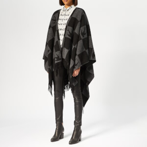 McQ Alexander McQueen Women's Swallow Checkerboard Poncho - Greyscale