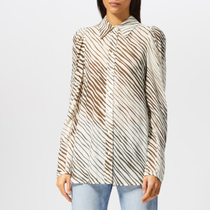See By Chloé Women's Zebra Striped Blouse - White Brown