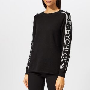 See By Chloé Women's Logo Sleeve Knit Jumper - Black