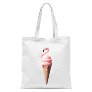 Jonas Loose Flamingo Ice Cream Tote Bag - White