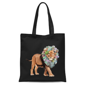 Jonas Loose Floral Lion Tote Bag - Black