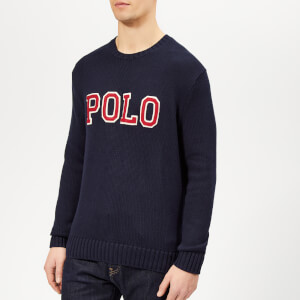 Polo Ralph Lauren Men's Logo Crew Neck Knitted Jumper - Hunter Navy