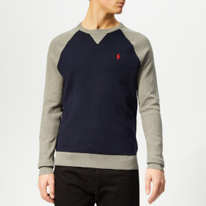 Polo Ralph Lauren Men's Raglan Sleeve Knitted Jumper - Navy/Grey Multi
