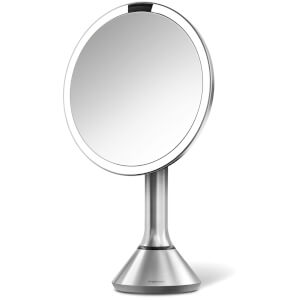 simplehuman Rechargeable Trio Sensor Mirror with Touch Control Brightness - Brushed Stainless Steel 20cm