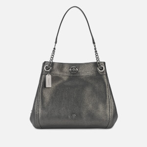 Coach Women's Metallic Leather Turnlock Edie Shoulder Bag - Metallic Graphite