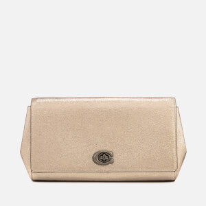 Coach Women's Alexa Metallic Leather Evening Clutch Bag - Platinum