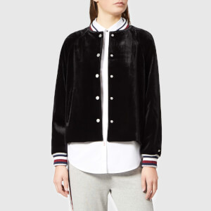 Tommy Hilfiger Women's Icon Velvet Bomber Jacket - Black